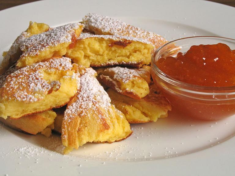 Kaiserschmarrn (German dessert pancake) with cranberry sauce